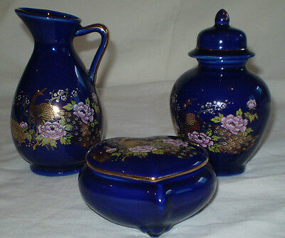 3 Pieces Of Japanese Cobalt Blue Lustre Painted With Peacocks, Peony &  Blossom
