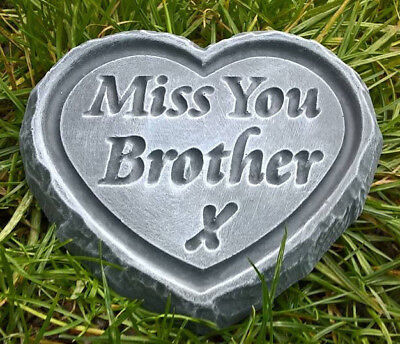 """""""Miss You  Brother"""" ENGRAVED STONE Heart Memorial Grave Garden Funeral Plaque"""