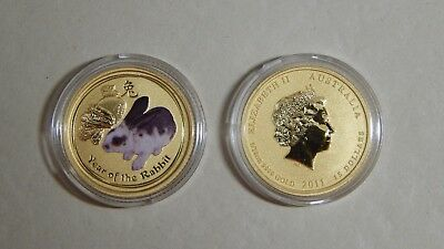 2011 Australia Lunar Year of the Rabbit $15 1/10 Oz .9999 Gold - Colorized