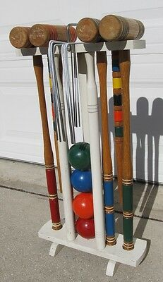 Vintage Classic Oak Wood Croquet 4 Player Set Complete w/ Wood Carry Stand NICE!