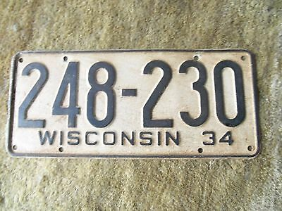 1934  Wisconsin  License Plate  1934 Ford ? 1934 chevrolet 1934 Pontiac?