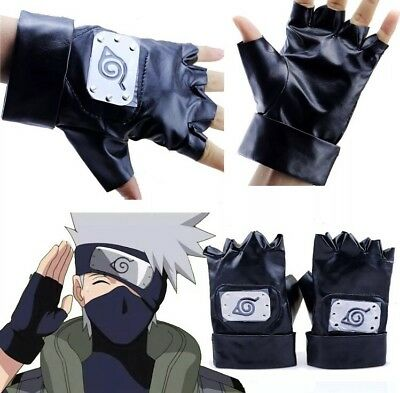 Naruto Kakashi Leaf Village Leather Gloves Costume Cosplay Black US Seller
