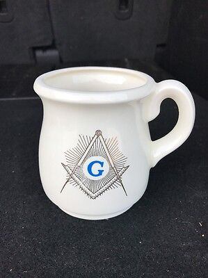 ANTIQUE Handmade 1984 Masonic Coffee Cup. Signed On The Bottom.