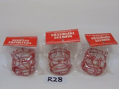 Lot Of 3 Vintage 1985 Midwest Of Cannon Falls Wire Metal Red Candle Holders
