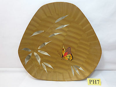 Vintage Japan Tray Plate Hand Painted Butterfly Odd Shape Laquer Japanese