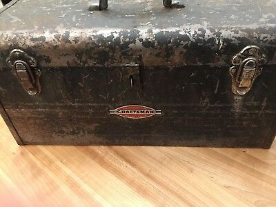 Vintage 1950s Craftsman Toolbox With Tray insert Metal Tool Box 18 inch