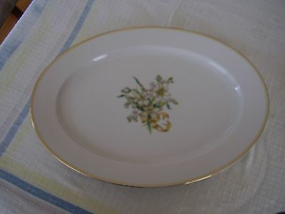 "Heinrich H C Selb 15996 Gold Yellow Trim White Flowers Ribbon 14"" Oval Platter."