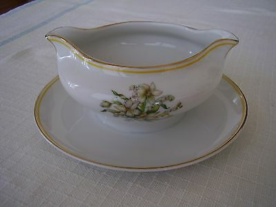 Heinrich H C Selb 15996 Gold Yellow Trim White Flowers Ribbon Gravy Sauce Boat.