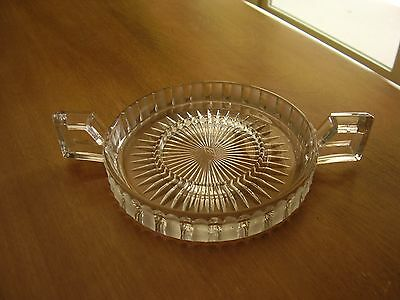 Heisey Clear Etched Ridges Handled Tray with Center Ring FREE SHIPPING.