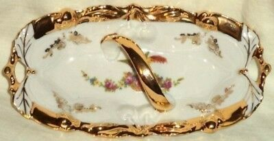 Beautiful Candy Dish With Handle Chelsea Bird Rose Basket Gold Trim Germany