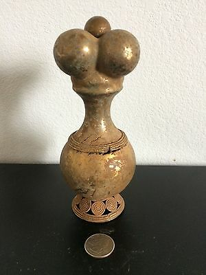 RARE OLD COLOMBIAN GOLD COPPER TUMBAGA - Authentic Poporo with lime dipper
