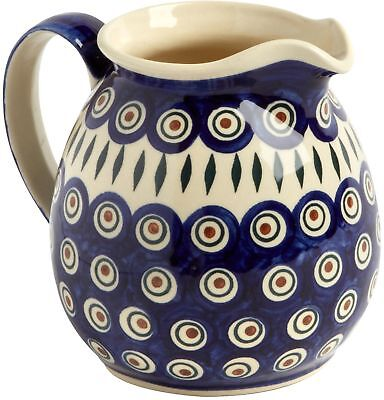 Polish Pottery Peacock Feathers Handmade Drink Pitcher Beverage Serving