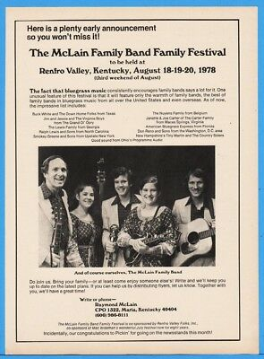 1978 McLain Family Band Fest Bluegrass Renfro Valley KY VA Boys Buck White Ad