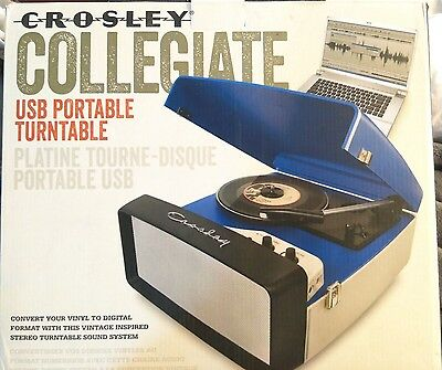 NEW Crosley CR6010A-RE Collegiate Portable USB Record Player Turntable-BLUE