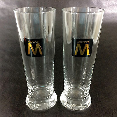 Set 2 Molson Beer Glasses Tall Pint 16 oz Ale Heavy Base Brewery Collection Lot