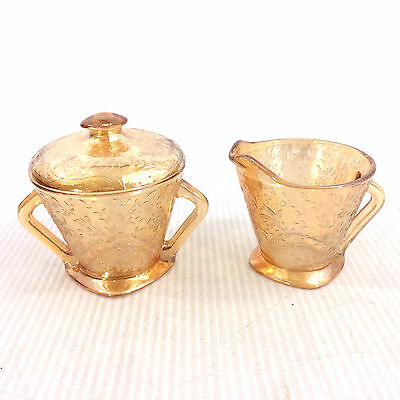 Iridescent Glass Cream & Sugar Bowl Lid Set Peach Luster Embossed Floral Pattern
