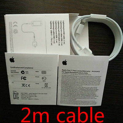 2M Original Apple Lightning USB Charge Cable Date for iPhone 7 Plus 6/6s/5/iPod