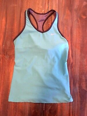 Women's Nike DRI-FIT Racerback Tank Top Blue Shelf Bra Size S Small Athletic