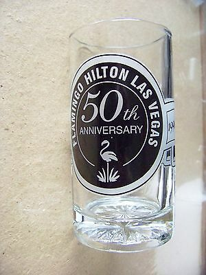 Flamingo Hilton Las Vegas 50th Anniversary handled clear glass tankard mug