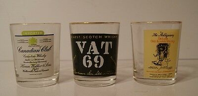3 SCOTTISH WHISKY Advertising Glasses Canadian Club,Vat 69, The Antiquary