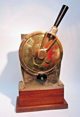Brass Demco Dolphin 700 Ship Engine Order Telegraph on Wood Stand