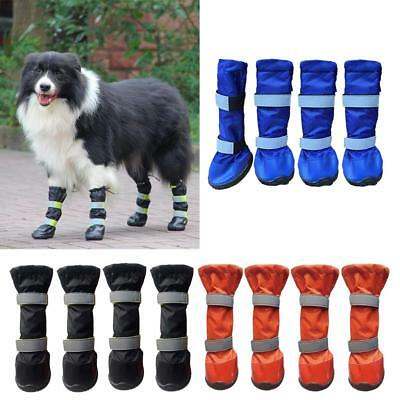 ... 4PCS Pet Dog Puppy Anti Slip Protective Rain Boots Booties Waterproof Shoes S XL