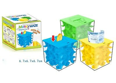 1PC New Maze Cube Coin Saving Jar Puzzle Money Box Gift 3 Colors to Choose