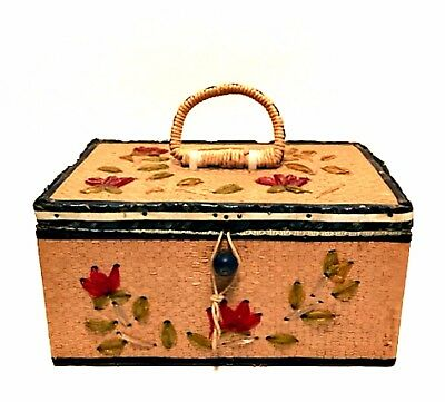 Antique Japan Sewing Basket Box Rare 1920s Satin Lined 8 inches Long