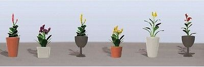 "JTT Scenery Products-Flowering Potted Plants Assortment 4, 7/8"" (6)"