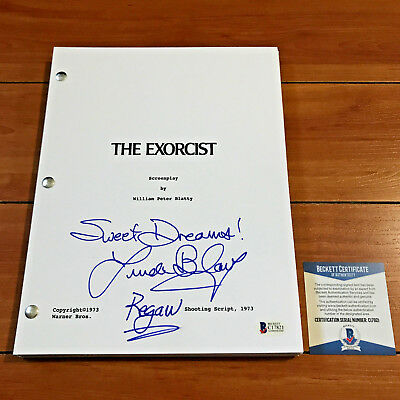 LINDA BLAIR SIGNED THE EXORCIST MOVIE SCRIPT w/ CHARACTER NAME & BECKETT BAS COA