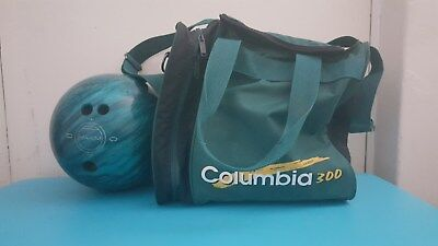 Maxim Bowling Ball Teal Green 12lbs Drilled Small Hand With Columbia 300 Bag