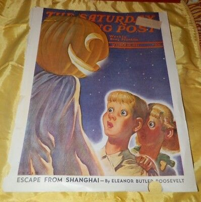 Oct 30, 1937 The Saturday Evening Post Cover-Halloween Jack O' Lantern