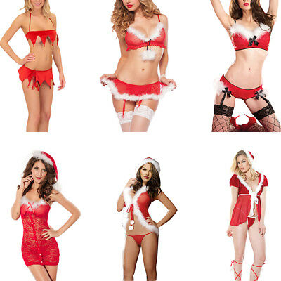 Christmas Underwear Women Sexy Lingerie Red-Babydoll Dress Sleepwear Costume  .