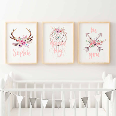 Baby, Girls Floral Boho Tribal Nursery Print Set - Personalised Antler Name Prin