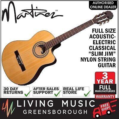 NEW Martinez Full Size 4/4 Slim Neck Acoustic-Electric Classical Guitar (Satin)