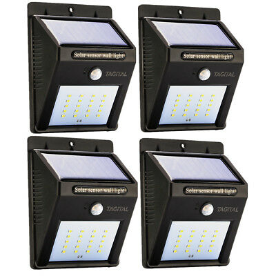 Solar LED Lights Solar Sensor Motion Light 20 LED Outdoor Lamp Waterproof 4 Pack