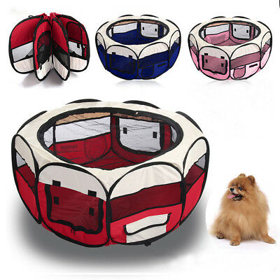 New 3 Colours Fabric Pet Dog Cat Puppy Playpen Soft Foldable Rabbit Guinea Play
