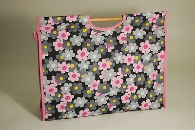 Knitting Bag with double wooden handles - delightful, modern, fabric showing