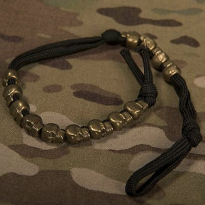 Army Ranger Beads with brass skulls beads black Paracord