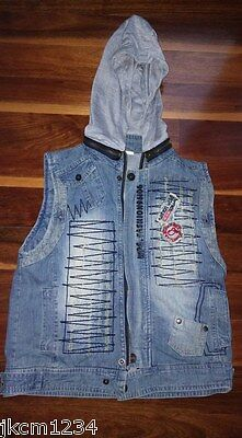 Size 8 / 10 Boys Zephire Jean Vest With Removable Hood Designer
