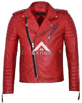 Mens Biker Leather Jacket Navy BRANDO PERFECTO Classic Fitted Racer Jacket MBF