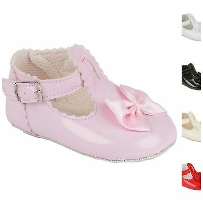 Baby Girl's Shoes with Bow & Buckle, Christening Wedding Early Days Baypods