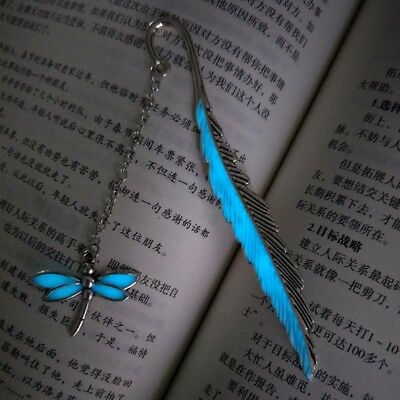 Retro GLOW IN THE DARK Leaf Feaher Book Mark With Dragonfly Charm Metal Bookmark