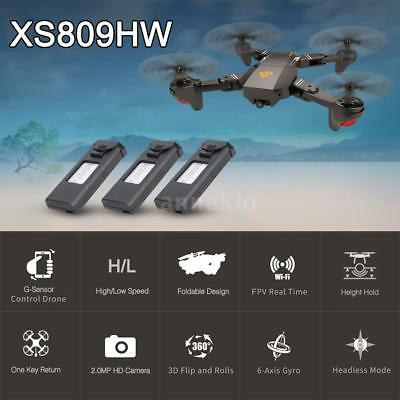 VISUO XS809HW FPV 2MP Selfie RC Quadcopter Drone Juguetes W/Extra 2 Batería T7B4