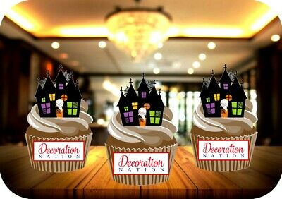 12 NOVELTY HALLOWEEN Haunted House Colourful - Edible Cake Toppers Spooky Scary