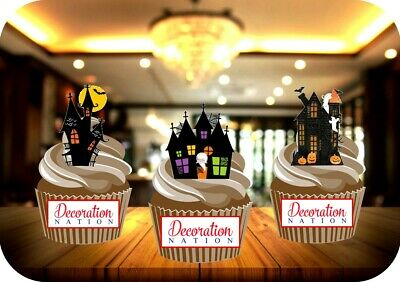 12 NOVELTY HALLOWEEN Haunted House Trio Mix - Edible Cake Toppers Spooky Ghosts