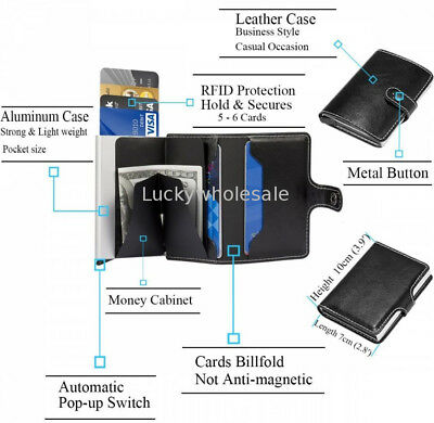 New RFID Credit Card Holder Automatic Pop-up Case Money Wallet Protector Sleeves