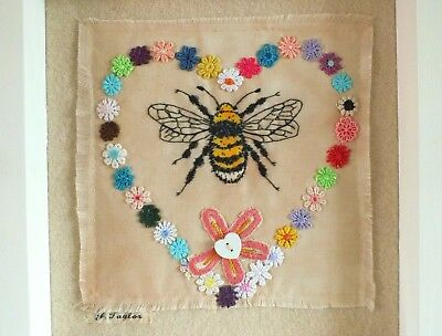 BEE embroidery textile art FRAMED embroidered picture wildlife garden bee lovers