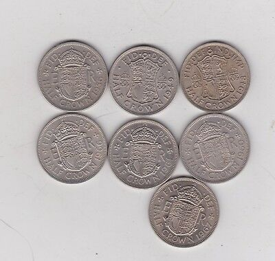 Seven Half Crowns 1948 To 1967 In Near Extremely Fine To Near Mint Condition
