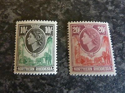 Northern Rhodesia Postage Stamps Sg73 & 74 (10/- & 20/-) Umm